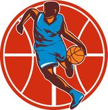 Basketball Player Dribble Ball Front Retro Stock Photo