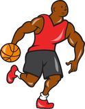 Basketball Player Dribbling Ball Cartoon Royalty Free Stock Images