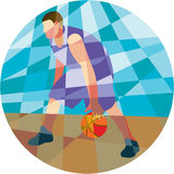 Basketball Player Dribbling Ball Circle Low Polygon Stock Photography