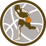 Basketball Player Dribbling Ball Circle Retro Stock Photo