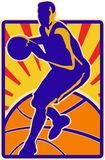 Basketball Player Dribbling Ball Retro Stock Image