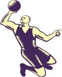 Basketball Player Dunk Ball Woodcut Royalty Free Stock Photo