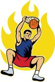 Basketball Player Dunking Ball. Illustration of a basketball player dunking ball with fire fireball on isolated white background Stock Photography