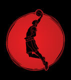 Basketball player dunking graphic vector Stock Photography