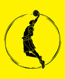 Basketball player dunking graphic vector Royalty Free Stock Photography