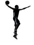 Basketball player dunking silhouette Royalty Free Stock Images
