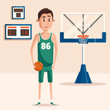 Basketball player holding ball near backboard. Basketball player in uniform holding ball near backboard with hoop and net. Scoreboard showing time. Perfect for Royalty Free Stock Photography