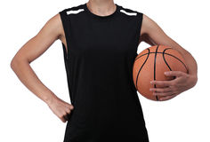 Basketball player holding a ball Royalty Free Stock Photos