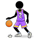 Basketball player icon. Cartoon sport action icon of basketball player Royalty Free Stock Images