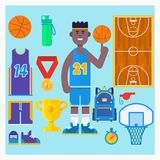 Basketball player and basketball icon set. Simple basketball vector elements. Vector illustration. Basketball player and basketball icon set. Simple basketball stock illustration