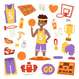 Basketball player and icons stickers vector. Royalty Free Stock Images