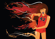 Basketball Player Illustration. Illustration of a girl playing basketball with flames extending from her and the basketball in her hand.  On a black background Royalty Free Stock Images