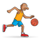 Basketball player. Illustration of a basketball player with ball royalty free illustration