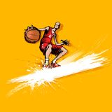 Basketball Player. Illustration of basketball player playing on abstract grungy background Stock Photo