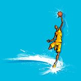 Basketball Player. Illustration of basketball player playing on abstract grungy background Royalty Free Stock Images