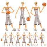 Basketball player illustrations set. stock photo