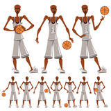 Basketball player illustrations set. Different emotions expressions Royalty Free Stock Image