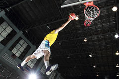 Basketball player layup for score. In the game Stock Photo