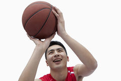 Basketball Player Lining Up His Shot Stock Photos