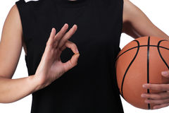 Basketball player making the sign all is well Stock Photography