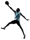 Basketball player man isolated silhouette shadow Royalty Free Stock Photo