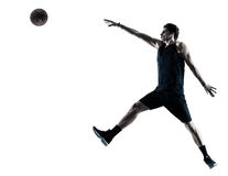 Basketball player man isolated silhouette shadow Stock Images