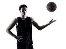 Basketball player man  silhouette shadow Stock Photos