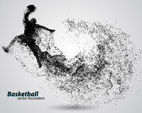 Basketball player from particles. Background and text on a separate layer, color can be changed in one click. Basketball abstract royalty free illustration