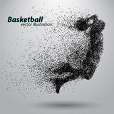 Basketball player from particles. Background and text on a separate layer, color can be changed in one click. Basketball abstract stock illustration