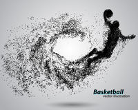 Basketball player from particles. Royalty Free Stock Images