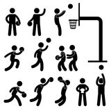 Basketball Player People Icon Sign. A set of pictogram about basketball game Stock Image