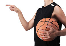 Basketball player pointing something with his finger Stock Photo