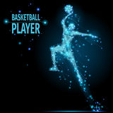 Basketball player polygonal. Abstract basketball player in motion with cybernetic particles. Vector mesh spheres from flying debris. Basketball man jumping stock illustration