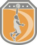Basketball Player Rebounding Ball Shield Retro Stock Photos