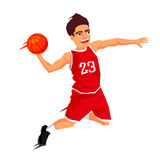 Basketball player in red uniform. Cool basketball player in red uniform with a ball in a jump. Vector illustration on white background. Sports concept stock illustration