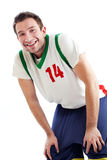 Basketball player resting. Happy basketball player resting Isolated on white Stock Image