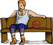 Basketball Player Resting. Mature heavyset basketball player sitting on bench over white background Stock Photos