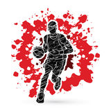 Basketball player running front view. Illustration graphic vector Royalty Free Stock Photo