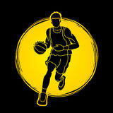 Basketball player running front view. Illustration graphic vector Royalty Free Stock Photography