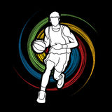 Basketball player running front view. Illustration graphic vector Stock Photography