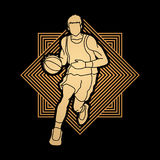 Basketball player running front view. Illustration graphic vector Stock Images