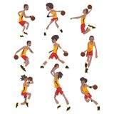 Basketball player set, athletes in uniform playing with ball vector Illustrations on a white background. Basketball player set, athletes in uniform playing with stock illustration