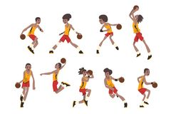 Basketball player set, athletes in uniform playing with ball vector Illustrations on a white background. Basketball player set, athletes in uniform playing with royalty free illustration