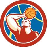 Basketball Player Shooting Ball Circle Retro Stock Photos