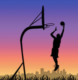 Basketball player silhoette Royalty Free Stock Photo