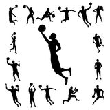 Basketball player silhouette Stock Images