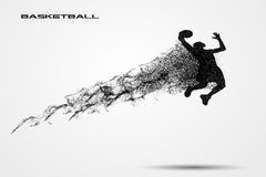 Basketball player of a silhouette from particle. Background and text on a separate layer. color can be changed in one click Stock Photography