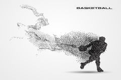 Basketball player of a silhouette from particle. Background and text on a separate layer. color can be changed in one click Stock Images