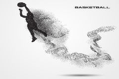 Basketball player of a silhouette from particle. Background and text on a separate layer. color can be changed in one click Royalty Free Stock Photos