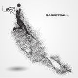 Basketball player of a silhouette from particle. Background and text on a separate layer. color can be changed in one click Royalty Free Stock Images